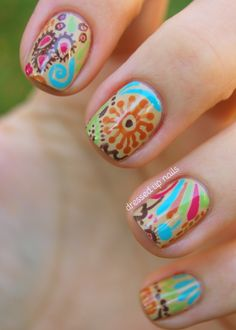 nail art | Dressed Up Nails: Fall floral nail art!