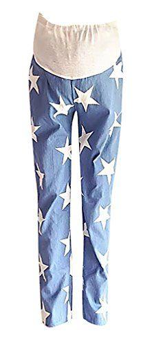 f9ed74bc71e78 MTRNTY Womens Maternity High Elastic Waist Comfortable Blue Star Casual  Pants Pentagram XLarge ** You