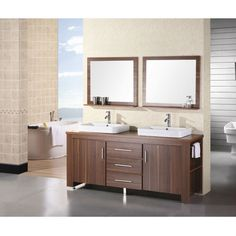 72-inch Double Sink Vanity Set in Toffee with Porcelain Vessel Sinks