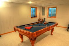 Thomas Arron Billiards Solid Wood Pool Table  SOLD Used Pool Tables, Diy Pool Table, Pool Table Felt, Billiard Pool Table, Billiards Pool, Pool Table Movers, Game Room Design, Game Rooms, Solid Wood