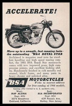 Motorcycle BSA 1964 AD Royal Star Heavy Chrome Black Red Enamel Photo AD