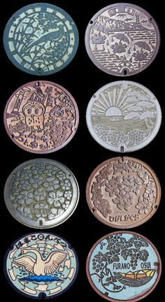 Japanese manhole covers. Each city in Japan has their own design!
