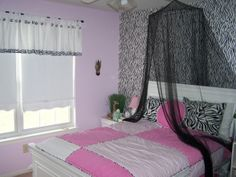 Girls Zebra Striped Pink And White Room, This Is My 9 Year Olds New Room