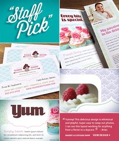 Spotlight on Design. Brian choose a whimsical design for a Cake Shop. Graphic Design Templates, Marketing Professional, Cake Shop, Marketing Materials, Brochures, Spotlight, Whimsical, Design Inspiration, My Favorite Things