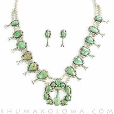 Stunning and iconic squash blossom necklace handcrafted by Master Navajo silversmiths. One of the most recognized necklace silhouettes in the world, the squash blossom necklace is the culmination of d