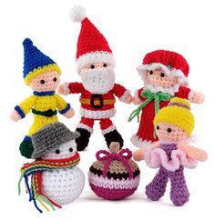 """Ring in the holidays with this merry collection of crochet friends perfect for little gifts, decorations and more. Includes Ballerina, Elf, Snowman, Mr. and Mrs. Santa, and Christmas Ball, all made with size G hook and worsted-weight yarn. 3 ½"""" to 6"""" tall plus hats. Size 3 ½"""" to 6"""" tall plus hats. Materials Worsted-weight yarn and size G hook; stuffing; half-ball shank buttons. Safety Notice Buttons and small parts can be a hazard to small children. To be safe, all animals intended for ..."""