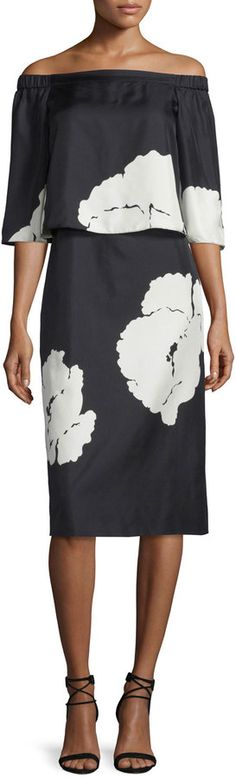 Tibi Amara Printed Popover Dress, Black