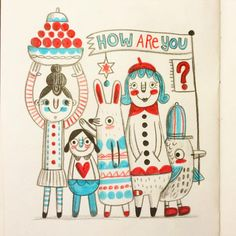 Friendly folk © Linzie Hunter #sketchbook #doodle #illustration #sketch #drawing #pattern #silly #odd #linziedraws