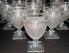 Miss America Depression Glass Goblets  The crystal is much more plentiful than the colors, there is also enough available in the pink to build a collection.  The other colors were only made in very limited pieces and are very hard to find.
