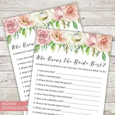 Printable | Bridal Shower Game | Who Knows The Bride Best | Instant Download | PDF | Pastel | Spring | Blush | Florals | Shower Game | PDF Picture Thank You Cards, Bachelorette Card, Bridal Games, Printable Bridal Shower Games, Spring Theme, Bridesmaid Cards, Pastel Floral, Rose Gold Foil, Cards For Friends