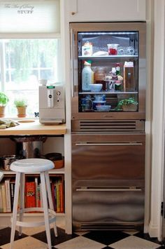 True Glass Front Refrigerator...would force me to clean out the fridge more often!