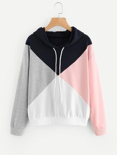 Cut And Sew Color Block Hoodie affiliate link Stylish Hoodies, Cool Hoodies, Girls Fashion Clothes, Teen Fashion Outfits, Teenager Outfits, Cute Casual Outfits, Sweater Hoodie, Long Hoodie, Loose Tops