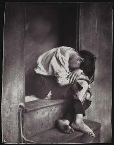 "Oscar G. Rejlander - Poor Jo, c.1860.  ""Poor Jo"" is one of Reijlander's most popular works, and its subject can be considered the original poster child for the homeless. Using a boy from the local Ragged School for the poor, Rejlander re-created a scene he had once witnessed in London. Hailed by critics for its ""eloquent pathos and expression,""the photograph aroused sympathy from a society increasingly aware of the destitution in its midst, thanks to works by Charles"