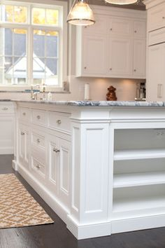 Cabinet toe kick style, flush cabinet doors/drawers, top of upper cabinet style