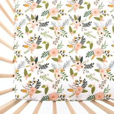 Crib Sheet Blush Sprigs and Blooms. Fitted Crib Sheet. by iviebaby