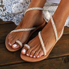 Stor storlek Splicing Ren färg platta sandaler för kvinnor