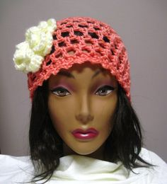 Lacy Hat in Salmon with Off White Button Flower Accent