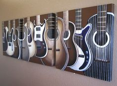 """Guitar Paintings on Canvas - set of three 20"""" x 20"""" paintings MADE TO ORDER. $340.00, via Etsy."""