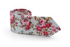 Light Green Gray Floral Tie /  Men's Pale Celadon Floral skinny tie / Wedding Ties / Necktie for Men FREE GIFT