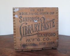Antique Sanford's Ink Library Paste Wooden Box Crate 12x6 inches 1800s - on ebay 5/7