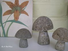 Tiny stone mushrooms and a lily tile. (Len & Barb Rosen) 6/23/2012