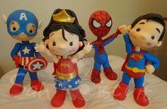 Super Heroes Kids! Porcelana fria polymer clay pasta francesa masa flexible fimo fondant gum paste pasta goma modelado figurine topper