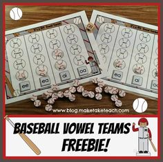 Fun baseball themed vowel team freebie! Great for centers or small group instruction.