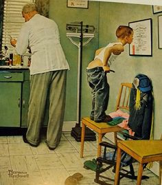 love Norman Rockwell- here's the one I remember most...ha  seems like it was in all the doctors offices..when I was a kid....ha sb