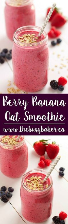 This Berry Banana Oat Smoothie is the perfect addition to Mother's Day brunch! www.thebusybaker.ca