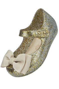 7904be8da575 Mini Melissa Ultragirl Gold Glitter Sweet Bow Shoe. Chloe ClothingGirls ...