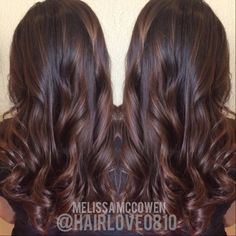 Hair By: Melissa McCowen, Dayton Wa #balayage #sombre #ombre #brunette #brownhair #copper #mohagany #coppermohagany #softcurls #loose curls #layers #longhair #embee #embeemeche #hairlove #hairlove0810 #itsnotmyjobitsmypassion
