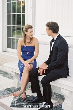 Evening wear is most appropriate for black-tie weddings. For men, this means a dark tuxedo, a white dress shirt, a coordinating bow tie, and cummerbund. Dress shoes are suitable. Women can wear either a long gown or a dressy cocktail dress with heels. #weddingideas #wedding #marthstewartwedding #weddingplanning #weddingchecklist
