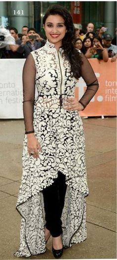 Parineeti Chopra Black Anarkali by Bollywood Suits, Bollywood Saree, Bollywood Fashion, Black Anarkali, Anarkali Suits, Half Saree Lehenga, Salwar Kameez Online Shopping, Parineeti Chopra, Indian Salwar Kameez