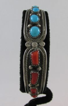 VINTAGE HANDMADE NAVAJO STERLING SILVER TURQUOISE & CORAL OLD PAWN CUFF BRACELET