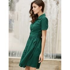 Vintage Turn-Down Collar Short Sleeve Single-Breasted Lace-Up Women's Dress