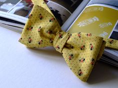Bow tie for men self tie bowtie cotton yellow with by bagzetoile, $28.00