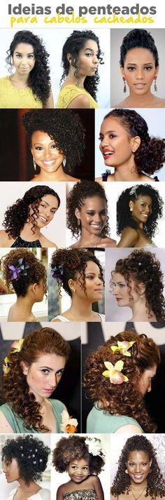 Penteados para cabelos cacheados ~ ideias e tutoriais Curly Afro Hair, Curly Hair Tips, Natural Hair Tips, Hair Dos, Natural Hair Styles, Curled Hairstyles, Wedding Hairstyles, Wedding Hair And Makeup, Hair Makeup