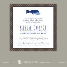 Baby Shower - Fish Theme/Brown & Blue - Invitation Flat Card on Etsy, $15.00