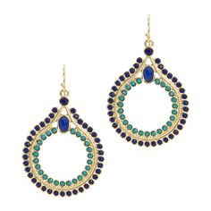 """Love this! Found it on Lily's Boutique  Channel the colors, pattern and confidence of a peacock's tail feather in a moderately sized dangle earring.   - Goldtone metal, emerald and cobalt crystals   - 1 1/2"""" long  - French wire"""