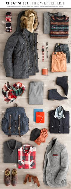 Winter Cheat Sheet 2013, J Crew.   Like that Parka, scarf (in Blackwatch tartan, red/green plaid or navy/red plaid), shirt and the blazer.