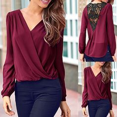 Stylish V-Neck Long Sleeve Lace Spliced Chiffon Blouse For Women Casual Tops For Women, Blouses For Women, Look Fashion, Fashion Outfits, Fashion Women, Purple Blouse, Blouse Styles, Chiffon Tops, Long Sleeve Tops