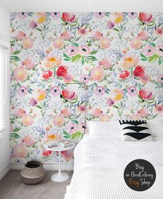 Dreamy floral wallpaper Watercolor Pastel Soft wall