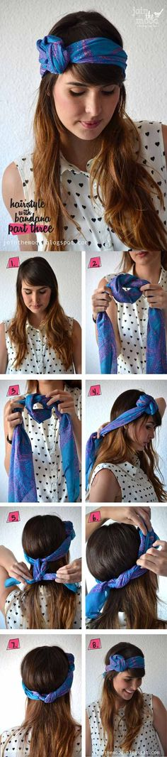 [ Quick And Easy Hairstyles For School : Cute Hairstyles You Can Do With A Scarf- Hairstyle with Bandana Part 3 - Try These Super Easy Haircuts And Hair Cute Bandana Hairstyles, Cute Girls Hairstyles, Trendy Hairstyles, Sweet Hairstyles, Hairstyles Videos, Easy Summer Hairstyles, Bun Hairstyles For Long Hair, Headband Hairstyles, Everyday Hairstyles