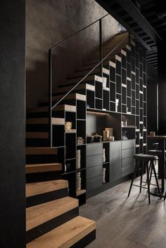 Industrial Interior Design, Home Interior Design, Modern Industrial, Industrial Scandinavian, Modern Mountain Home, Design Living Room, Design Bedroom, Modern Stairs, Metal Stairs