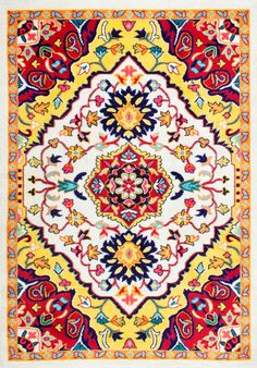 Add a sense of vibrancy, energy and flair to any room in an instant when you have this machine-made, 100% polypropylene rug. The riot of colors will brighten up even the dullest of indoors and the durable rug will last you for very long.