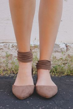 Mocha Strappy Ankle Pointed Toe Flats Pippa-152