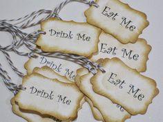 10 Eat Me Drink Me Alice in Wonderland Favor Tags by Parischick, $8.00
