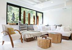 Baumstamm weiße Polster Möbel Design Ideen