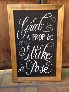 """Chalk art, photobooth sign, 20x30"""", grab a prop and strike a pose on Etsy, $61.95 AUD"""