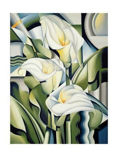 Catherine Abel Cubist lilies print for sale. Shop for Catherine Abel Cubist lilies painting and frame at discount price, ships in 24 hours. Cheap price prints end soon. Art Floral, Floral Wall, Arte Art Deco, Art Deco Artists, Fine Art Amerika, Painting Prints, Art Prints, Art Deco Paintings, Flower Paintings